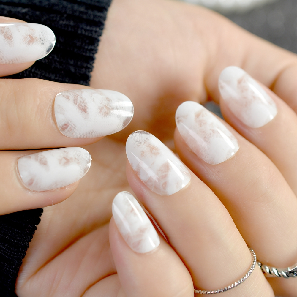 Clear Oval Fake Nails White Marble Beautiful Ladies Acrylic Nail ...