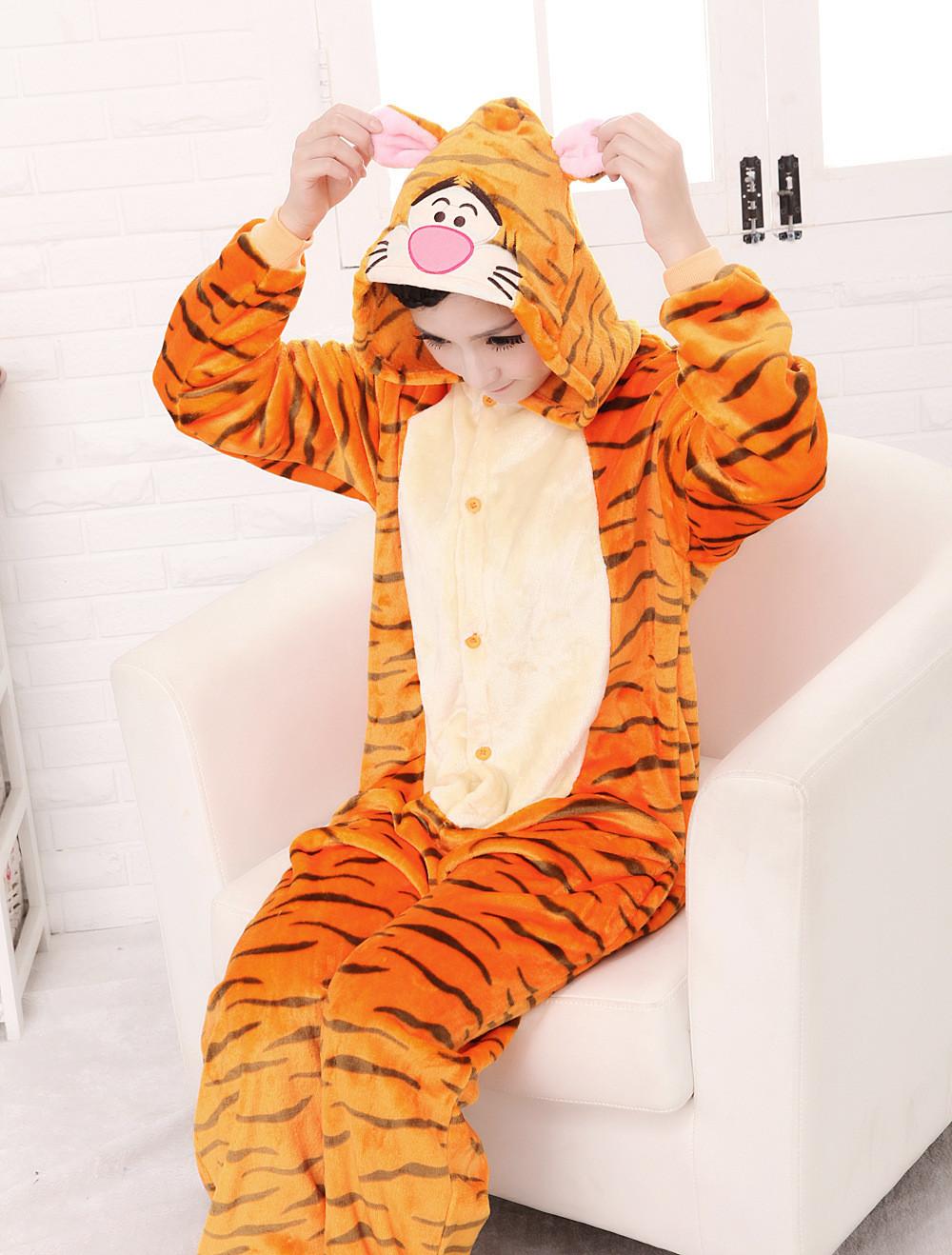 тигр тигр сочетает взрослых фланелевую пижаму костюмы животных для взрослых Guru Пэм мультфильм животных косплей для женщин и для мужчин Пэм