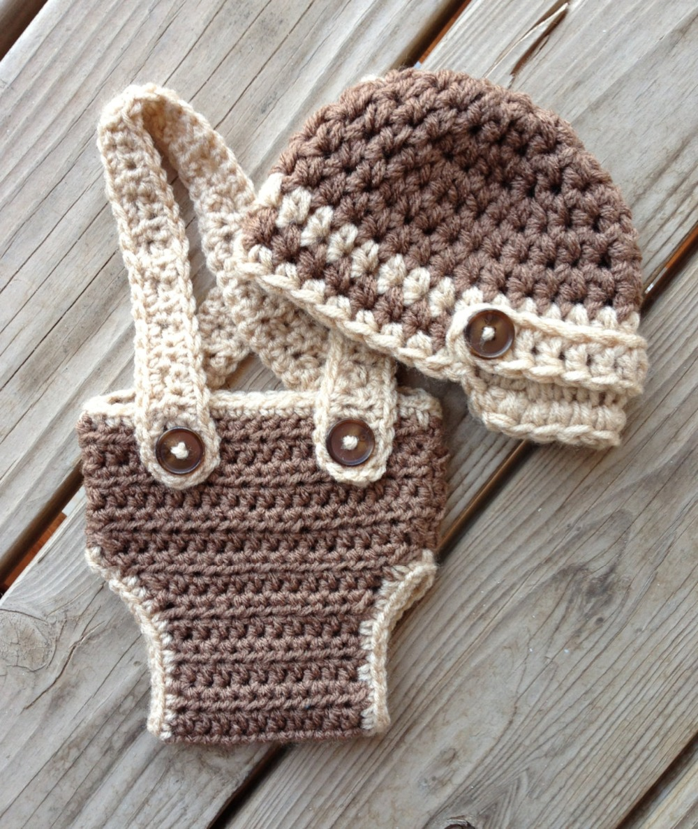 free shipping,Crochet Baby Light coffee newsboy caps with overalls ...