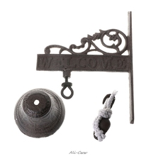 цены Antique Style Cast Iron Hanging Door Bell Wall Mounted Welcome Doorbell Home Decoration