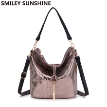 SMILEY SUNSHINE new serpentine leather handbag small tote women messenger bag female tassel shoulder bags ladies bucket hobo bag