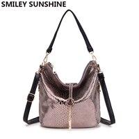 2017 Brand Serpentine Leather Handbag Women Small Tote Bag Female Tassel Shoulder Bags Ladies Hobo Crocodile