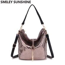 SMILEY SUNSHINE new serpentine leather handbag small tote women messenger bag female tassel shoulder bags ladies bucket hobo bag