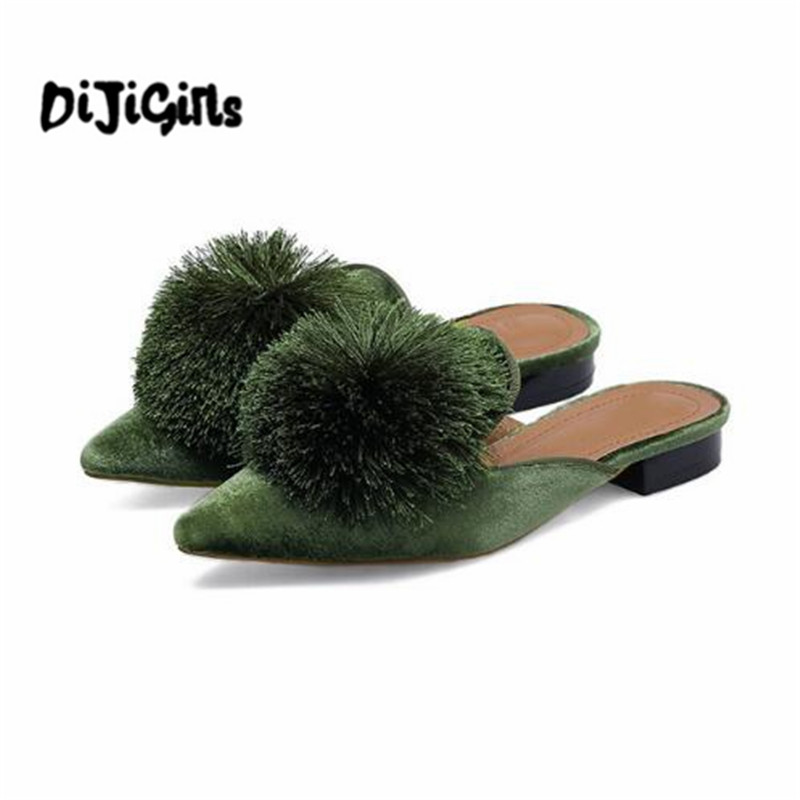 Faux Fur Pom Pom Women Flats Pointed Toe Flat Velvet Mules Women Slip on Women Flats Shoes Elegant Women Shoes cresfimix women cute spring summer slip on flat shoes with pearl female casual street flats lady fashion pointed toe shoes