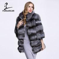 Genuine Fur Coat Silver Fox Fur Women's Coats 2017 Winter Women Real Fur Jacket Warm Long Female Natural Fox Fur Outwear Coat