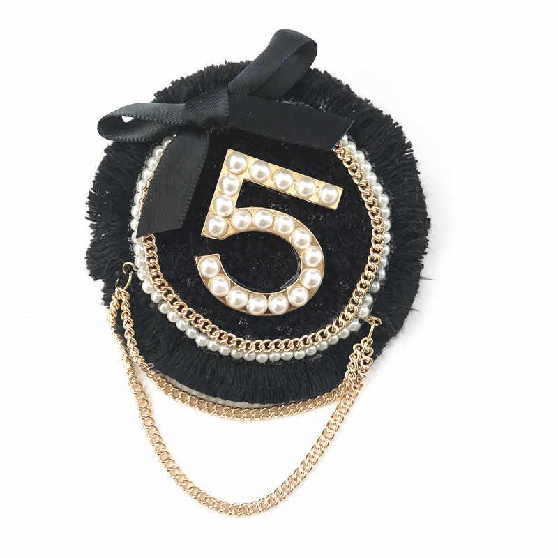 Mewah Merek Perhiasan Gaya Busur Simpul Kerah Pin No 5 Mutiara Bros Bunga Brocade Bros Perhiasan untuk Wanita