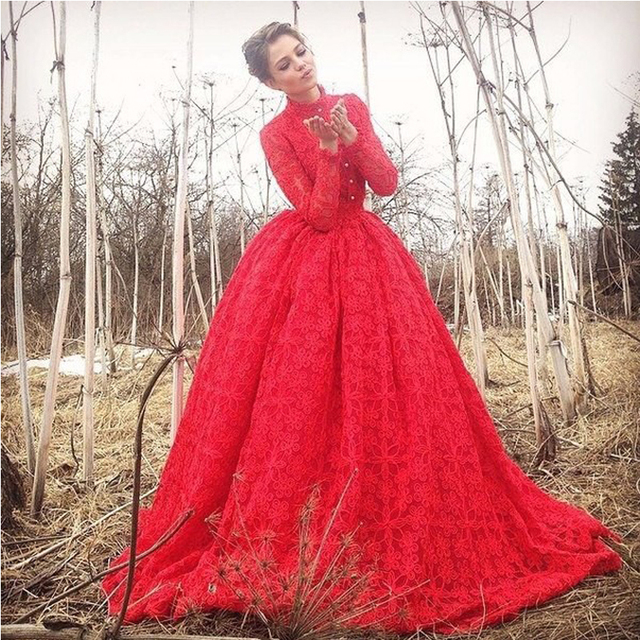 2017 Ball Gown Custom High Neck Lace Red Long Evening Dresses ...