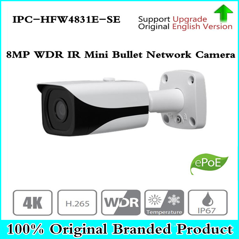 Original OEM 4k 8MP IP Camera IPC-HFW4831E-SE repalce IPC-HFW4830E-S IR IP67 IK10 POE Mini Bullet Network Camera IP67 IK10 POE free shipping dahua cctv camera 4k 8mp wdr ir mini bullet network camera ip67 with poe without logo ipc hfw4831e se