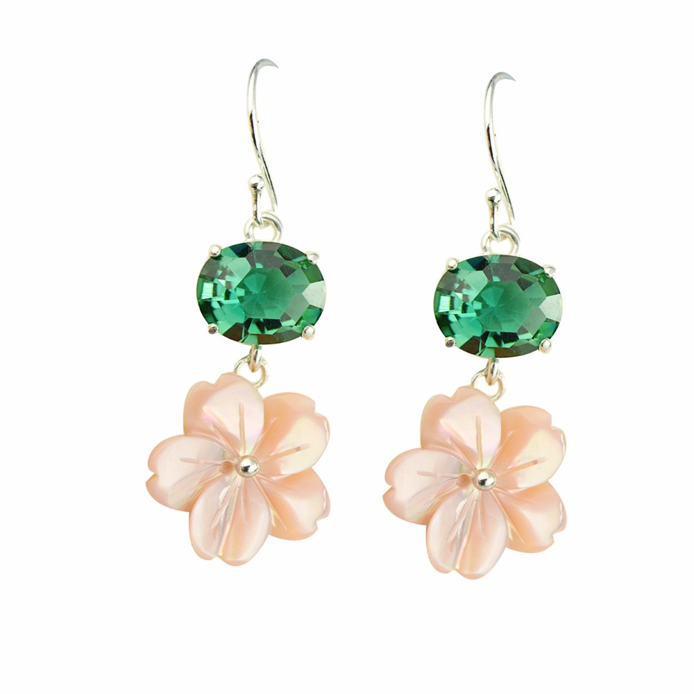 Green Crystal & Shell Earrings Dangle for Women Flower Drop S925 Sterling Silver Girls Fine Jewelry Fashion Tassel 2018Green Crystal & Shell Earrings Dangle for Women Flower Drop S925 Sterling Silver Girls Fine Jewelry Fashion Tassel 2018