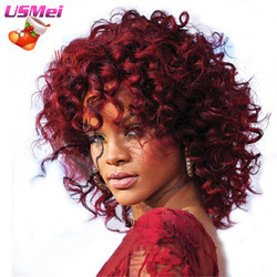 Afro medium kinky curly red synthetic wigs that look real cheap sexy peruca blanca perruque for.jpg 250x250