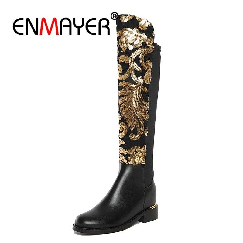ENMAYER hiver en cuir véritable bottes femmes genou haute bottes hauteur croissante stretch tissu sexy de mode chaussures femme noir CR346