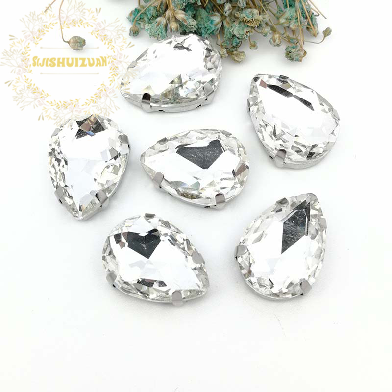 White Water droplet shape Crystal Glass Sew-on Rhinestones with Silver claw DIY Women's Dresses 13*18 10*14 7*10 18*25 20*30