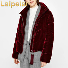 Laipelar Winter new cotton jacket ribbon zipper gold velvet stand collar fluffy jackets clothing womens coat clothes