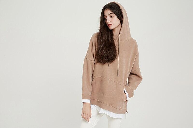Wixra Women Casual Sweatshirts Warm Velvet Long Sleeve Oversize Hoodies s 2020 Autumn Winter Pullover s
