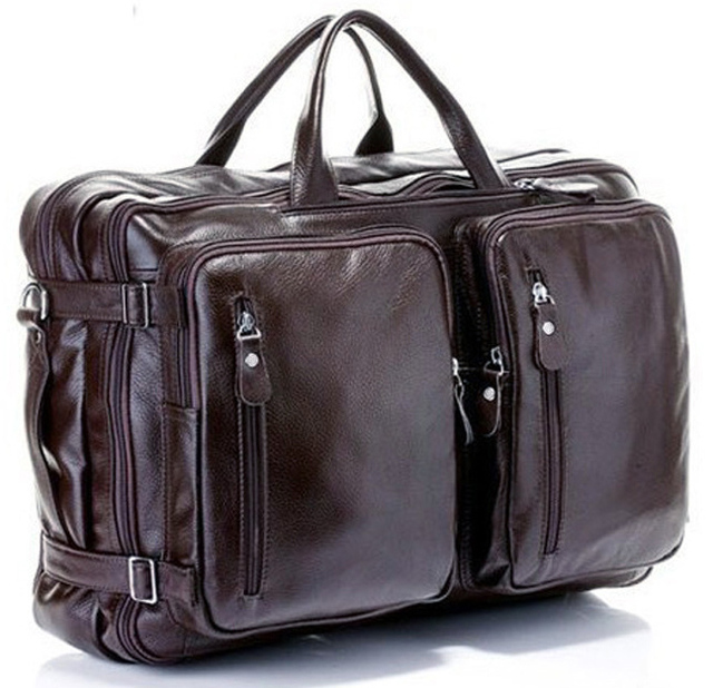 Fashion Multi-Function Full Grain Genuine Leather Travel Bag Men's Leather Luggage Travel Bag Duffle Bag Large Tote Weekend Bag