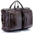 Moda de múltiples funciones del grano cuero genuino lleno hombres bolsa de viaje del equipaje de cuero viajar Duffle Bag Large mano Weekend Bag