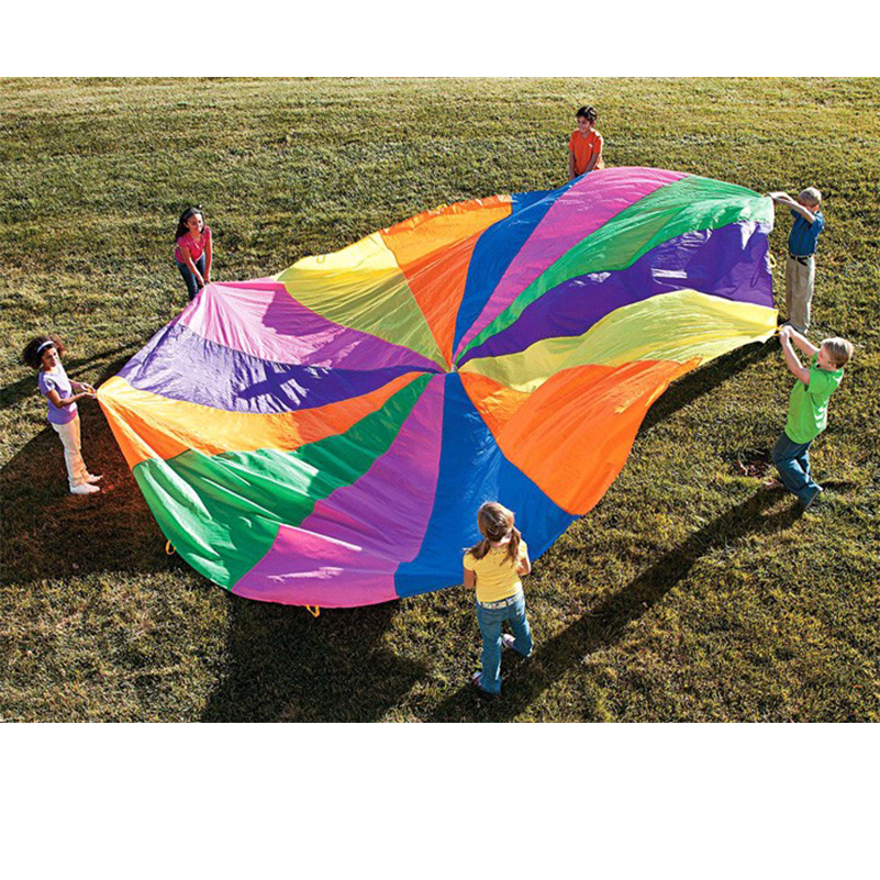 Abbyfrank 8 Handles 2m Kids Play Rainbow Outdoor Parachute Multicolor Nylon Kids Toy Parachute For 4