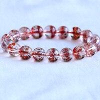 High Quality Natural Genuine Clear Orange Cornucopia Super 7 Seven Melody Stone Men's Bracelet Round Big Beads 11mm 05068