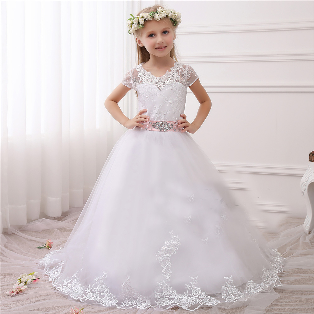 White And Ivory Lace First Communion Dresses Tulle Mother Daughter Dresses for Girls Ball Gown Floor Length Flower Girl Dresses