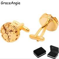 GraceAngie Marke Steampunk Manschettenknöpfe + Box Gold Botton Top Qualität Mann Hemd Schmuck Manschettenknopf Mechanische Uhrwerk Klassische