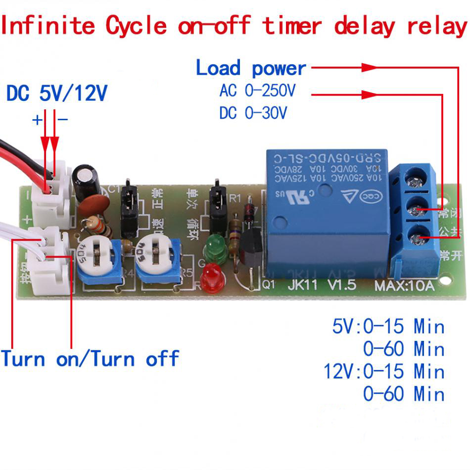Adjustable Cycle Timer Relay Dc Delay Module 5v 12v 0 15min Power With 60min In Relays From Home Improvement On