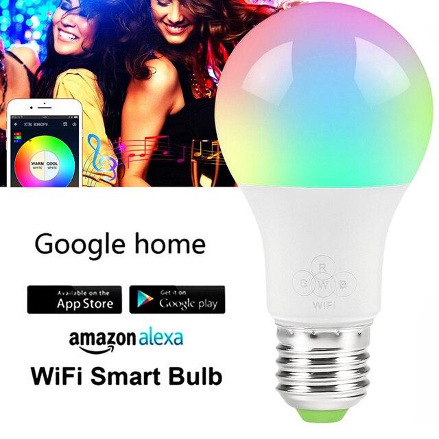 E27 WiFi inteligente bombilla regulable Multicolor despierta-luces RGBW LED lámpara compatible con Alexa y asistente de Google tv led