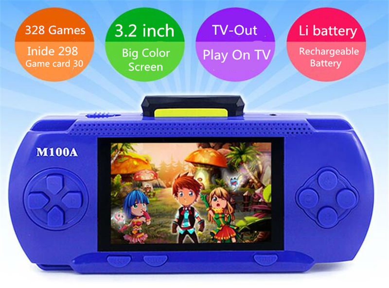Best gift for kids boy 3.2 inch color screen game console portable 328 games build inside handheld game player for nes for sega image