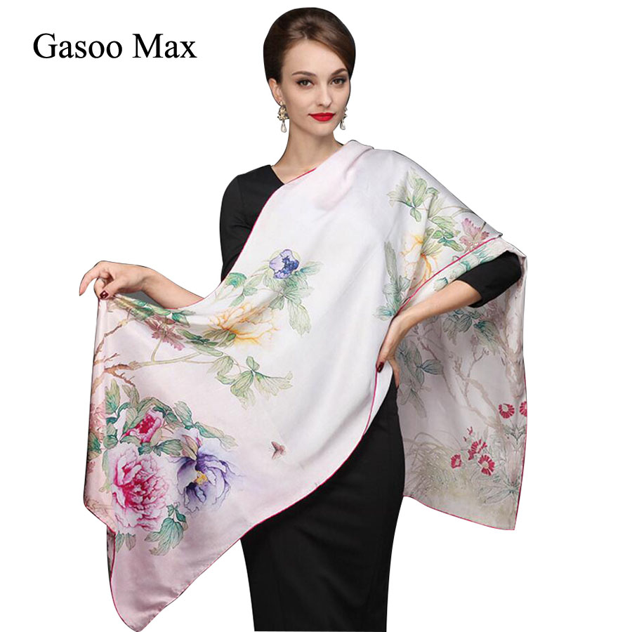 172*55cm Brand 100% Silk   Scarf   Women Natural Real Silk Long   Scarves   Shawl Female Luxury Brand   Wrap   Spring Summer Tippet