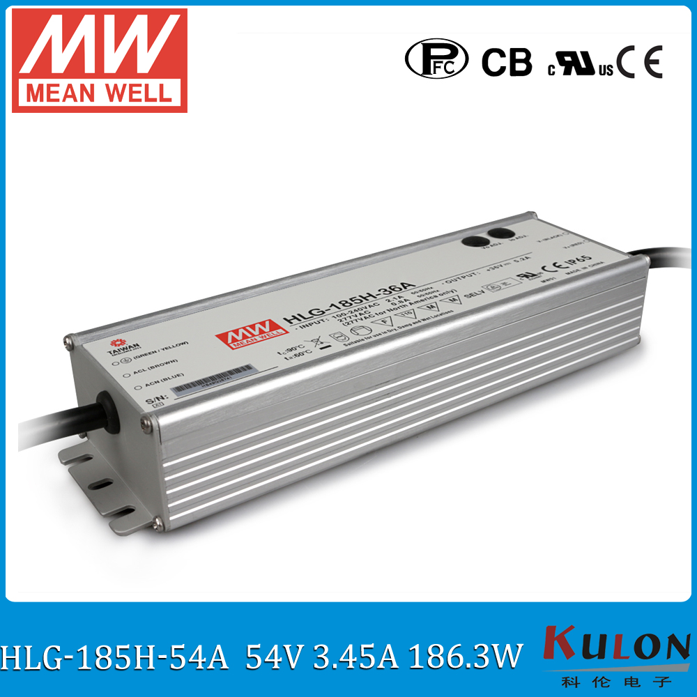 цена на Original MEAN WELL HLG-185H-54A 185W 3.45A 54V meanwell adjustable Power Supply IP65 waterproof led driver with PFC function