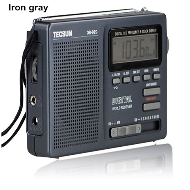 TECSUN DR-920C Цифровой Дисплей FM/AM/MW/SW Стерео Несколько Радиодиапазоне Приемник с Встроенный Динамик и часы
