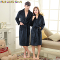 Navy Coral Peignoir Homme Unisex Solid Long Sleeve Flannel Fleece Sleep Lounge Pink Robes Albornoz Hombre Bathrobe Men Bath Robe