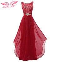 Anxin shレッドシフォンaラインウエディングドレスピンクビーズbridesmaideドレス結婚式パーティードレス任意の色