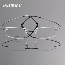 Belmon Spectacle Frame Men Rimless Eyeglasses Computer Pure Titanium Optical For Male Eyewear Clear Lens Glasses RS741