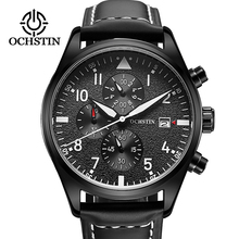 new men watch OCHSTIN Top brand Sport Wrist Hand Quartz watch Waterproof Chronograph Quartz Black Male Date Leather Strap Clock цена 2017