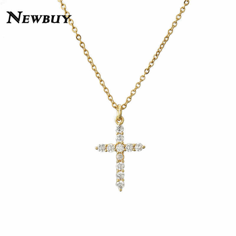 NEWBUY Brand Gold Link Chain Necklace Religious Jewelry Classic Cross Pendant Necklace For Women Men Cubic Zirconia Necklace