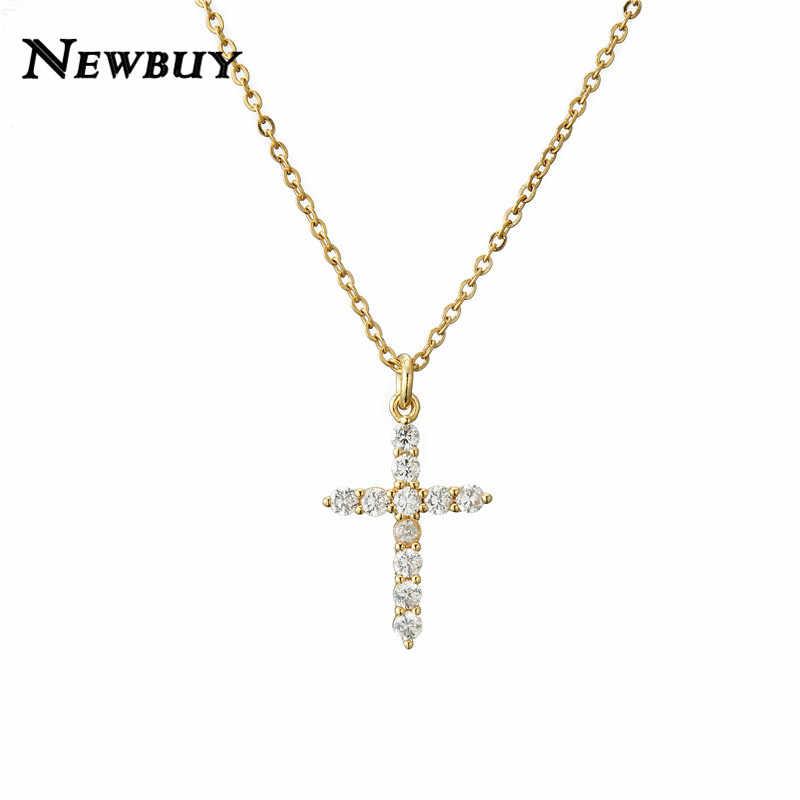 NEWBUY marka złoty łańcuch Link naszyjnik biżuteria religijna klasyczny krzyż wisiorek naszyjnik dla kobiet mężczyzn sześcienne za pomocą tego narzędzia online bez naszyjnik z cyrkonią