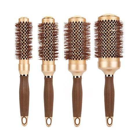 4 pcs pcs set 4 tamanhos escova redonda de cabelo ceramico resistente ao calor estilo