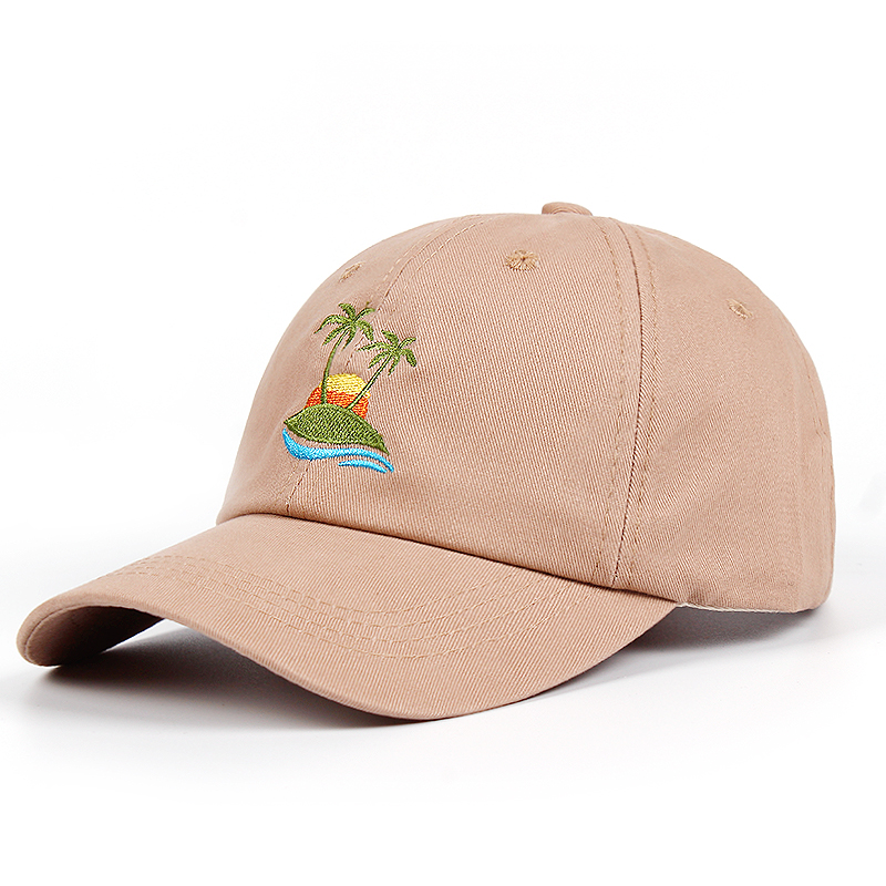 2018 new Embroidery Palm Trees Curved Dad Hat Beach sunrise A holiday   Baseball     Cap   Coconut Trees Hat Strapback Hip Hop   Cap   Golf