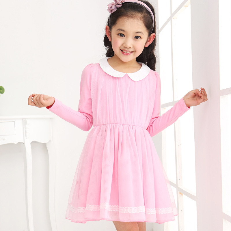 4a45cf73806c4 2014 new girls Korean version solid long sleeved dress princess ...