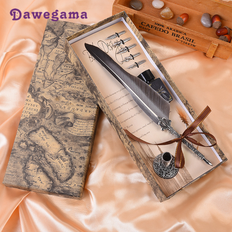 1Set Calligraphy Feather Dip Gift Decoration Quill Pen Writing Ink Set Gift Box with 5 Nib Wedding Fountain Pen Dawegama1Set Calligraphy Feather Dip Gift Decoration Quill Pen Writing Ink Set Gift Box with 5 Nib Wedding Fountain Pen Dawegama
