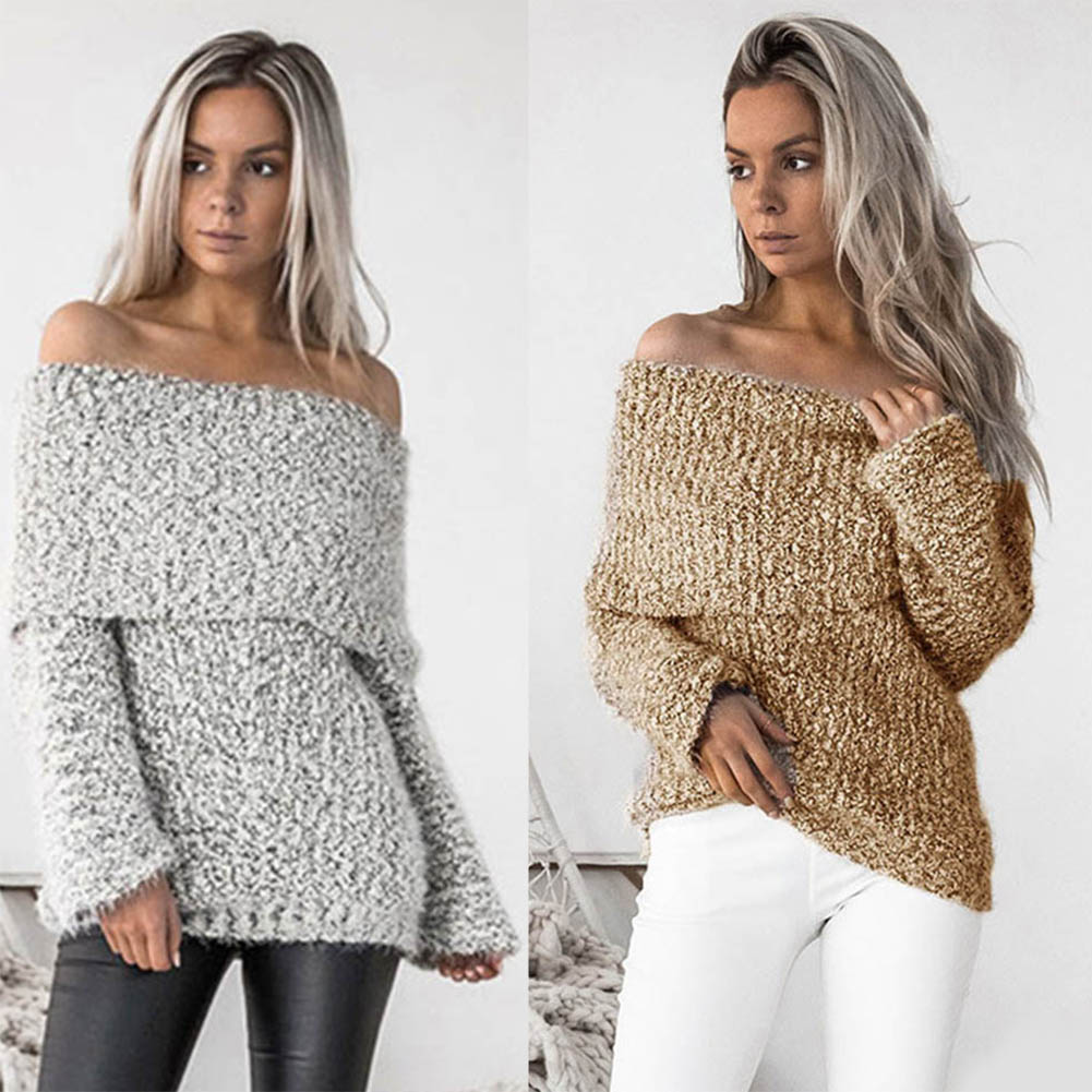 Sexy Women Christmas Off Shoulder Sweater Knitted Slim Fit Jumper Pullovers Tops JL