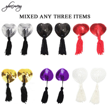 Yhotmeng New intimates 3 Pair Sexy Pasties Stickers Women Lingerie Sequin Tassel Breast Bra Nipple Cover Accessories
