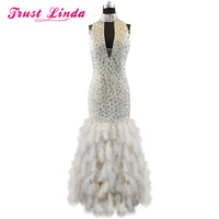 Sexy Real Sample Mermaid Halter Beading Crystal V-neck Feathers V back Prom Dresses 2017 New Style Evening dresses