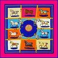 100 cm * 100 cm 100% Sarja De Seda Da Marca Euro Projeto do Cavalo Mulheres Lenço Quadrado Lenços Femininos Primavera Xale 2016