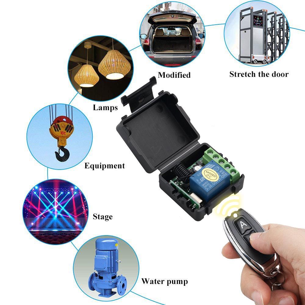 kebidu 1Pc RF Transmitter 433 Mhz Remote Controls with Wireless Remote Control Switch DC 12V 1CH relay Receiver Module 4