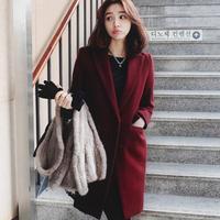 High Quality Casual Long Ladies Wool Coat Female Elegant Wine Woolen Coat Women Vintage Winter Coats