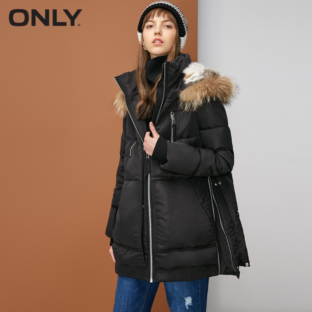 ONLY  Women's Hooded Rabbit Fur Hood Lining Raccoon Fur Collar White Duck Down Jacket 118312524-in Down Coats from Women's Clothing    2