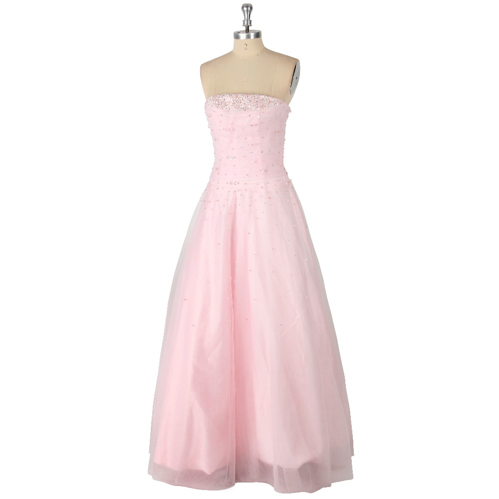 Pink Crystal Pearls Strapless Organza A-Line Floor-Length Lace-up   Prom     Dress   Formal Event