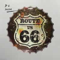 DL-Classic US Route 66 Tappo di Bottiglia In Metallo TIN SIGNS Antiquariato Souvenir Manufatti Per L'arredamento di Casa Partito Decorazione Della Parete