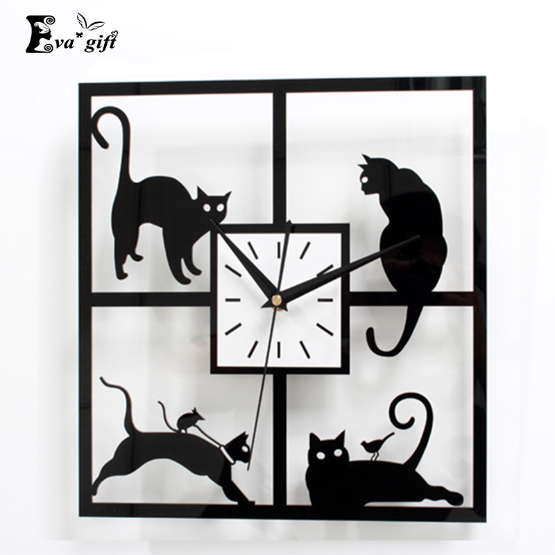 Cute Black Wall Decor : Cute cat s design wall clock decor black acrylic